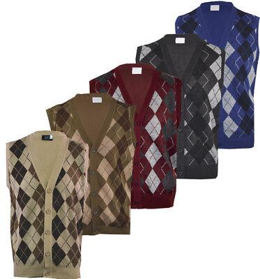 Mens Argyle V-Neck Sleeveless Sweater Button Tank Top Golf Casual Cardigan S-2XL