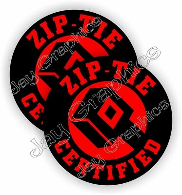 Pair Funny Zip Tie Certified Hard Hat Stickers Welding Helmet Decals Zip Ties