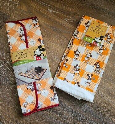 Disney Mickey Mouse Kitchen LOT Drying Mat & 2 Kitchen Towels NWT Buffalo Plaid