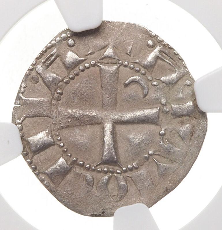 CRUSADERS, Antioch. Bohemond IV AR Denier, 1202-32 AD, NGC XF Details