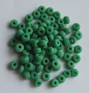 100 Mini Crow Beads - Opaque Glass - Green - 7mm - Native American Craft Use