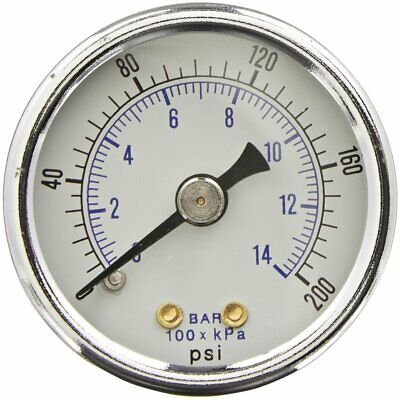 Heavy Duty Air Compressor Pressure Gauge 0-200 Psi 14 Npt Back Mount 2 Dial