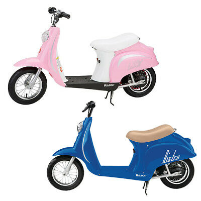 Razor Pocket Mod Miniature Euro 24 Volt Electric Retro Scooters, 1 Blue & 1 Pink