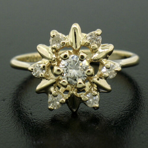 14k Yellow Gold 0.30ctw Petite Round Brilliant Diamond Snowflake Cluster Ring