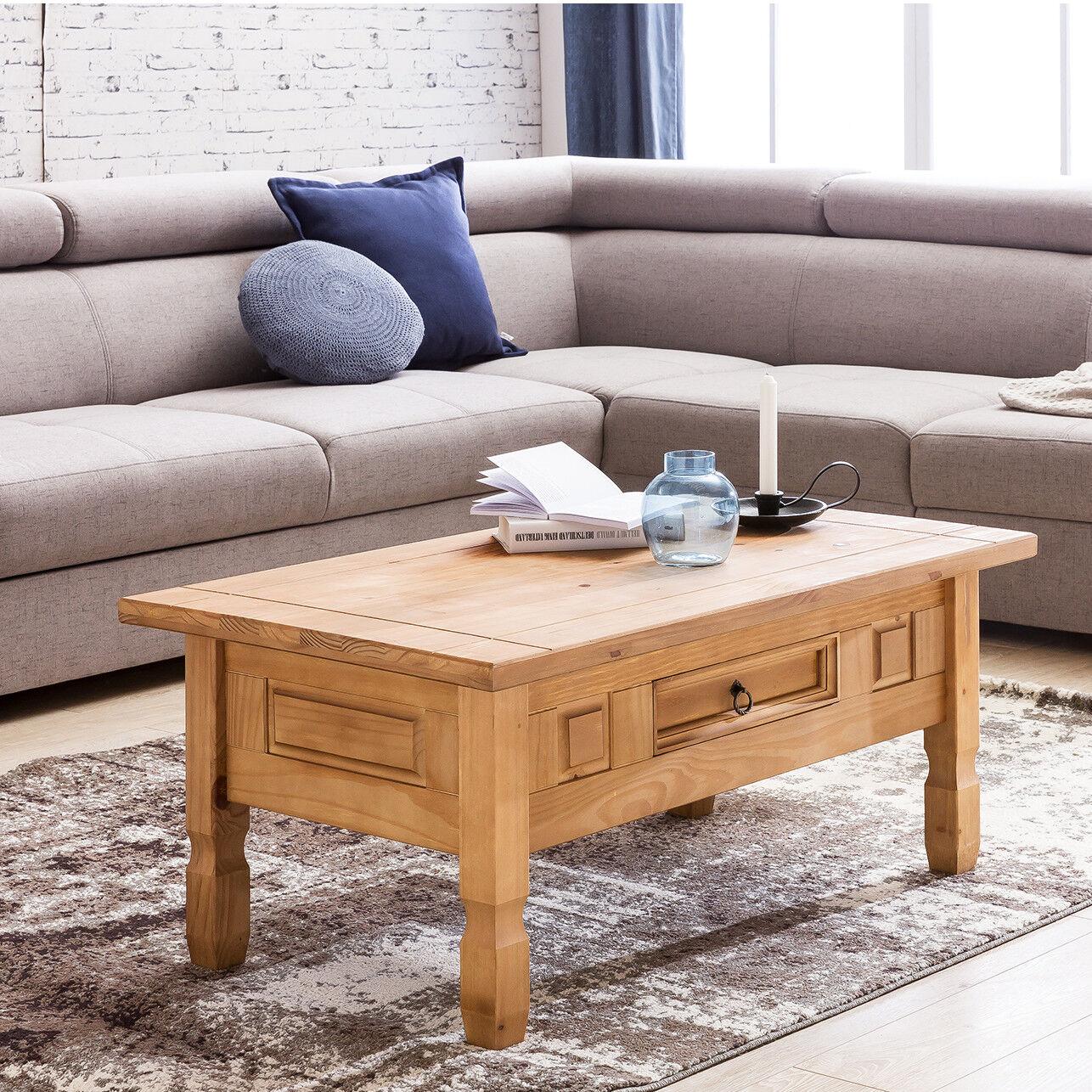 Couchtisch Kiefer Holz 100 x 60 cm Wohnzimmertisch Massiv Tisch Holztisch Mexico