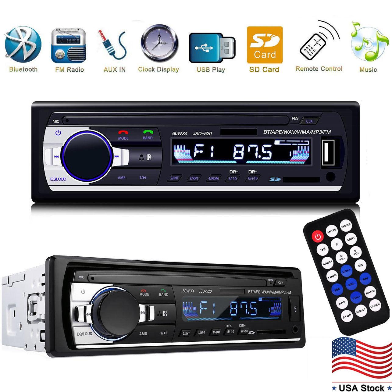 Car Stereo Audio Bluetooth In-Dash FM Aux Input Receiver SD