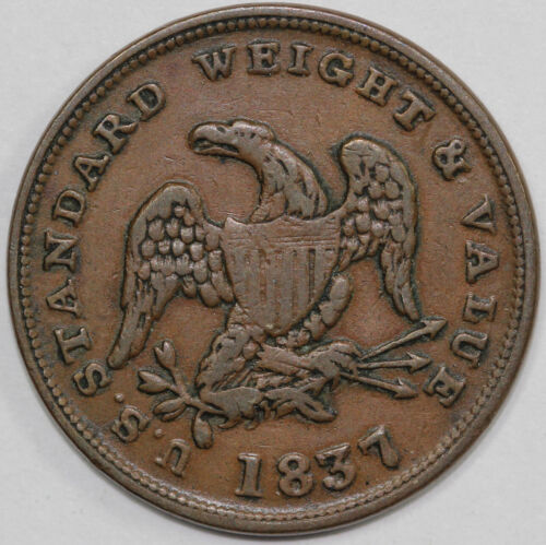 1837 HT-73 U.S. Standard Weight and Value One Half Cent Worth of Pure Copper