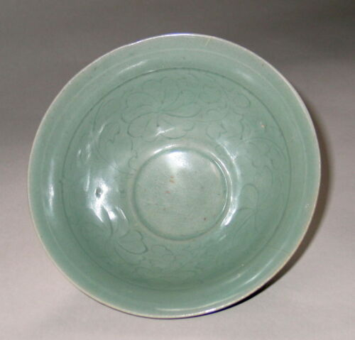 A Very Rare/Fine Korean Incised Celadon Deep Bowl-12th C.