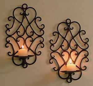 Pair of Wrought Iron Candle Holders Rustic Wall Decor Heart Sconces Brown - CW05