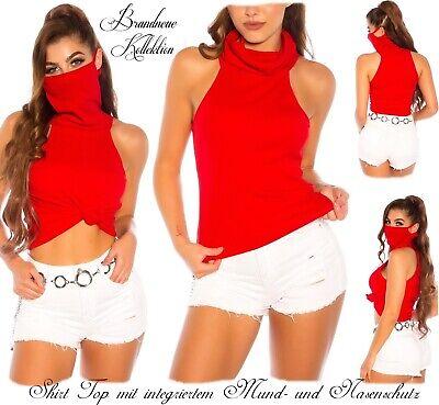 NEUHEIT 34 36 38 XS-S-M Cotton Shirt mit Mund- und Nasenschutz Maske Rot Italy