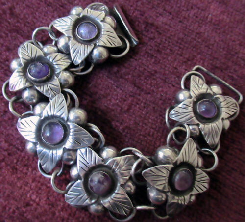 VINTAGE STERLING MEXICO BRACELET w AMETHYST - 49 GRAMS,  6 INCHES WRIST