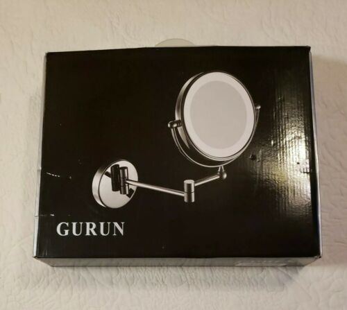 """GURUN Mounted Round Lighted 8"""" Makeup Mirror with 10X Magnif"""