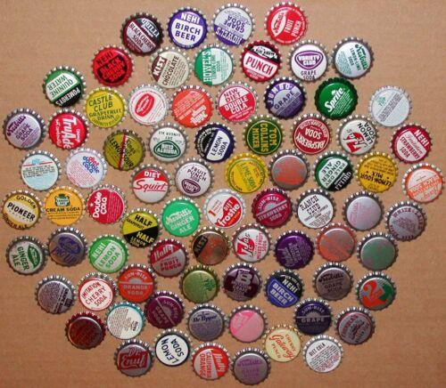 Vintage soda pop bottle caps Lot of 100 ALL UNUSED ORIGINALS over 75 different