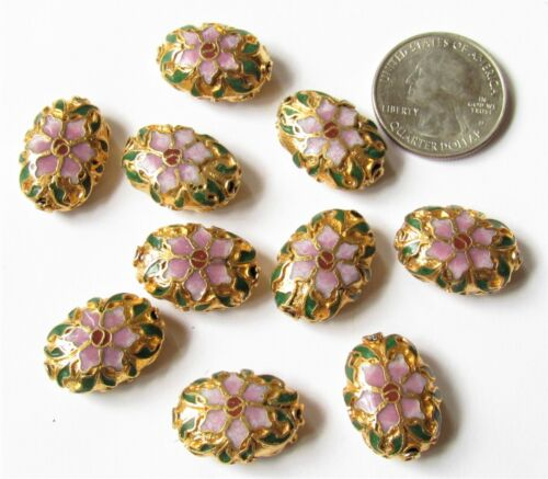 10 Pieces 20mm x 15mm Oval Cloisonne Beads Pink, Green & Gold BEAUTIFUL