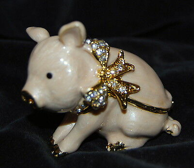 Bejeweled Trinket Box - Brand New PRETTY PIG Limoge style enameled & bejeweled trinket box FREE SHIPPING
