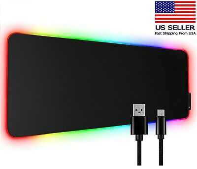 LED Large Gaming Mouse Pad RGB Oversized Glowing 10 Colors 31.5X12'' Waterproof