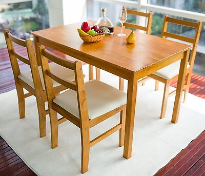 5-production Dining Table Set Soild Wood w/ 4 Cushion  Chairs Kitchen Room Accessories