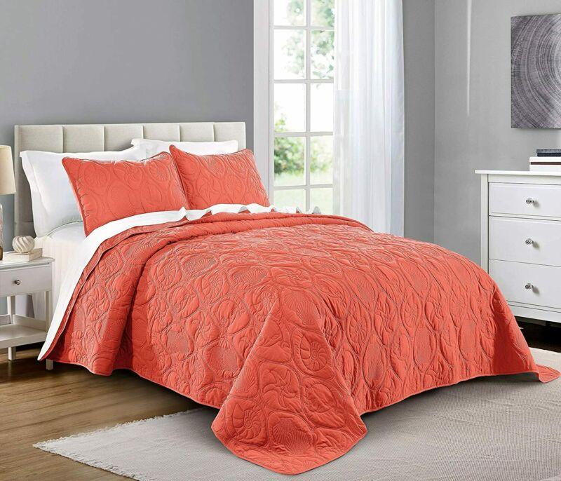 Pure Bedding Quilt Set Twin Size Coral - Oversized Bedspread - Soft Microfiber L