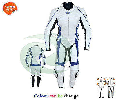 Bike racing suit white and blue lining leather suit best for track day sbk