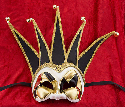 Mask from Venice Brighella Red Black in 5 Spikes in Paper Mache 337