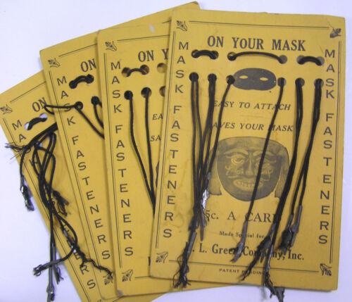 Vtg HALLOWEEN LOT 4 Cards Mask Elastic w Graphics 1930s H. L. Green