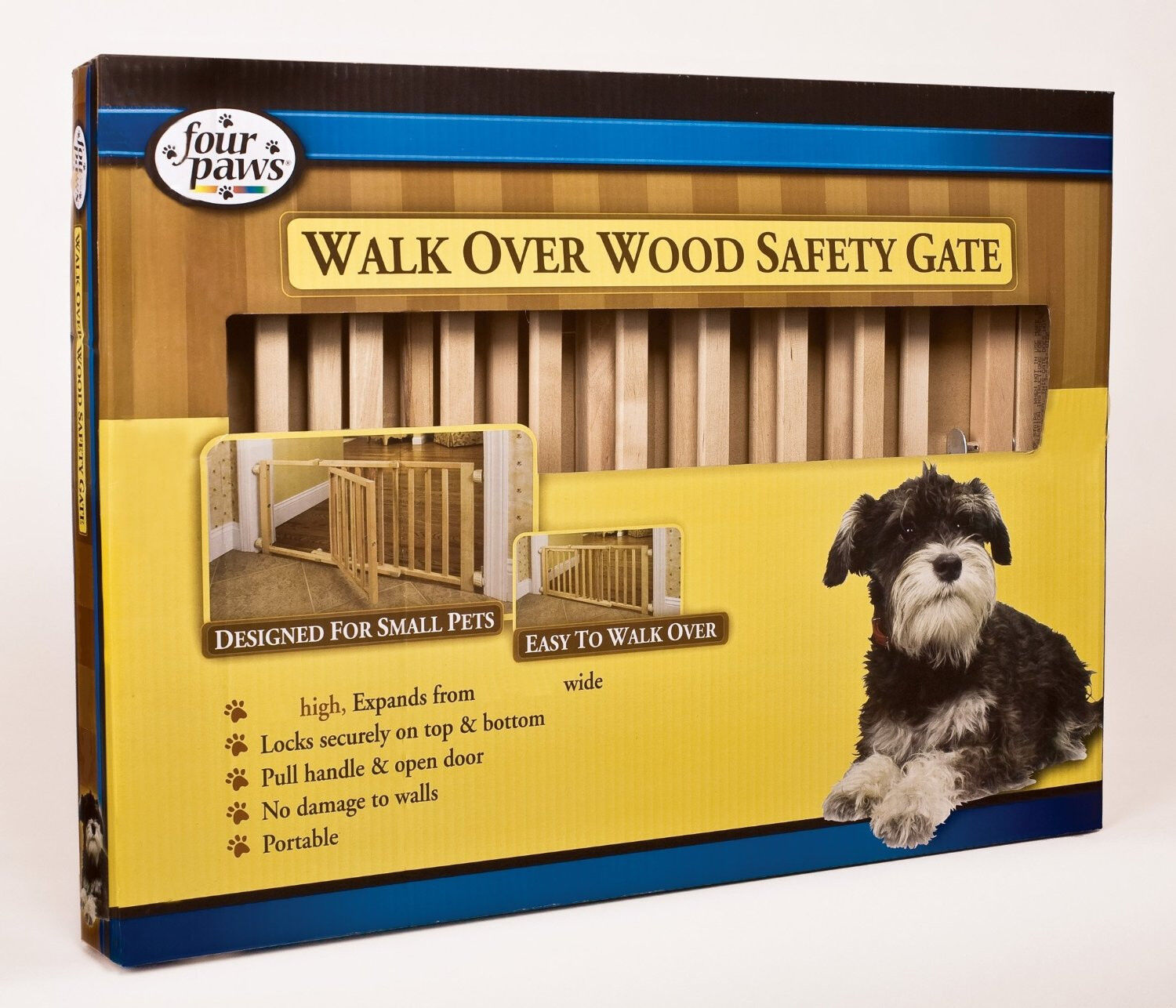 Four Paws Walk Over Wooden Expandable Safety Gate With Do...