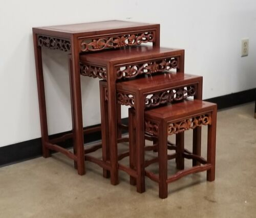 Set of 4 Carved Rosewood Nesting Tables