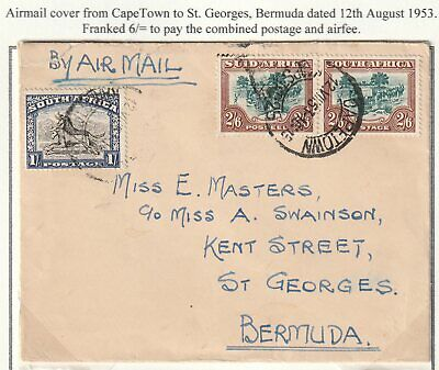 1953 SOUTH AFRICA TO BERMUDA COVER AIR MAIL 6/- POSTAGE INCL PAIR 2/6d STAMPS