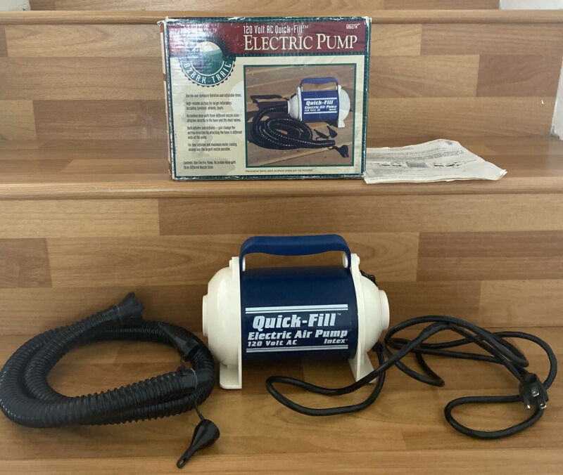 Quick-Fill Inflate Deflate Electric Air Pump with Hose and Box / Model 68627W