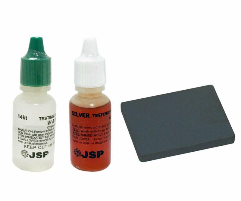 Gold / Silver Testing Acid Tester Kit 14k silver & Testing Scratch Stone