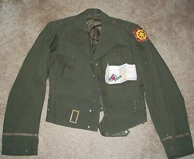 ORIGINAL WW2 ID'D ARMY PORT OF EMBARKATION OFFICER'S TAILOR MADE JACKET, ROUGH!