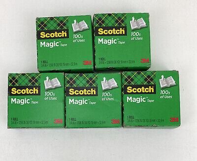 Lot Of 5 Scotch Magic Tape 810 Refill Rolls 34 In X 1500 In New In Original Box