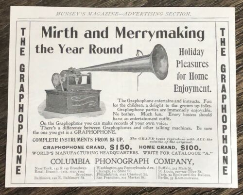 Antique Dec.1899 GRAPHOPHONE Columbia Phonograph Xmas Print Ad~Mirth&Merrymaking