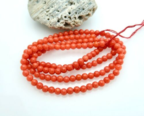 147 AAAAA RARE ITALIAN MEDITERRANEAN 3.1-3.4mm ROUND RED CORAL BEADS ROUNDS