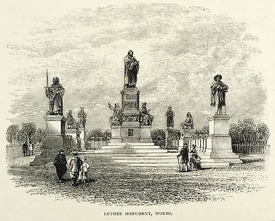 WORMS - LUTHER-DENKMAL - Stieler - Holzstich 1878
