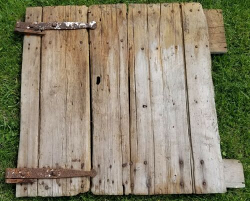 ANTIQUE OLD RUSTIC BARN DOOR HAND FORGED HINGES W/ IRON PINS 19TH CENTURY