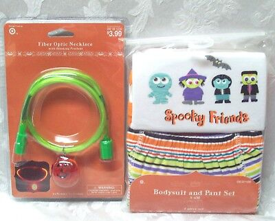 ends Baby Infant 3-6 Mo Bodysuit Set Fiber Optic Necklace (Spooky Baby Halloween-kostüme)