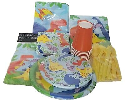 89 pc dinosaur friends party set plates cups cutlery bags napkins table cover - Friends Party Cup Set