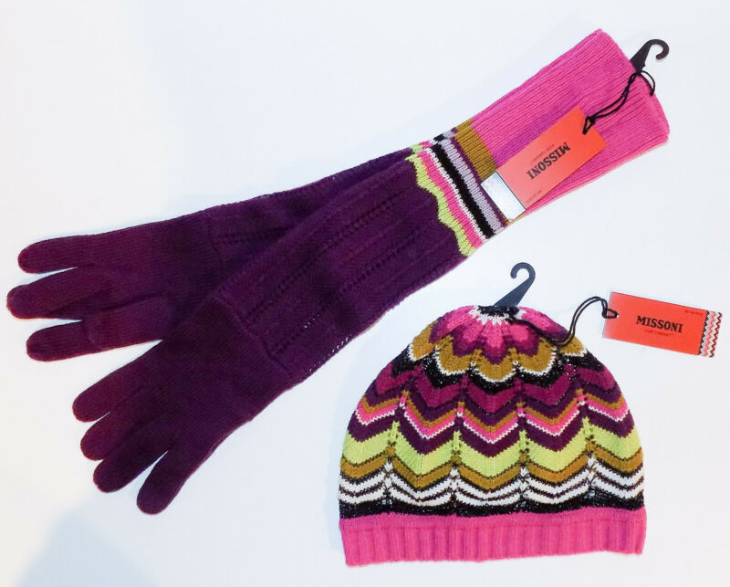 Missoni for Target Beanie/Hat & Gloves Set Passion Purple NEW