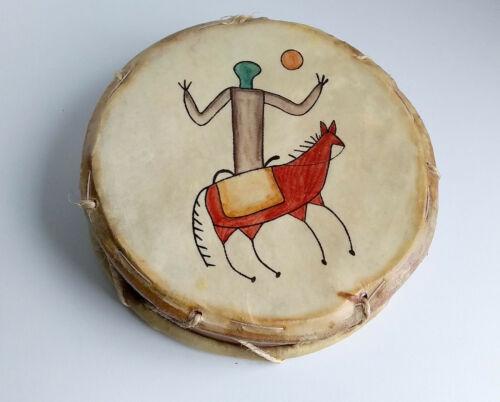 """Vintage Native American Rawhide Drum Painted Horse & Rider 8"""" Wide"""