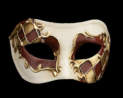Mask from Venice Colombine Harlequin Brown and Golden for Prom Mask 56 V82