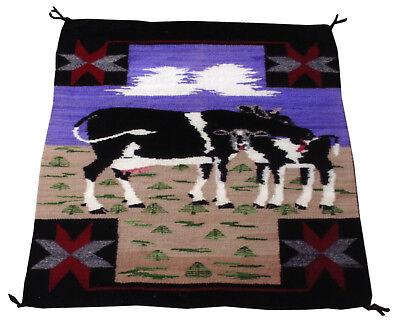 Navajo Cow Pictorial Weaving 1940s