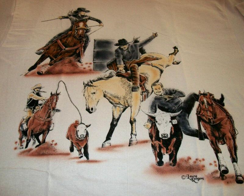 "American Sport Horse T-shirt  "" Natural "" MED ( 38 ~ 40 )"