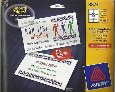 Avery 200 Ink Jet Business Cards 8873 White Linen 2-sided Clean Edge