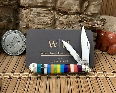 Case XX USA Beautiful Wild Horse Custom PATCHWORK GEMSTONE Peanut Knife #12