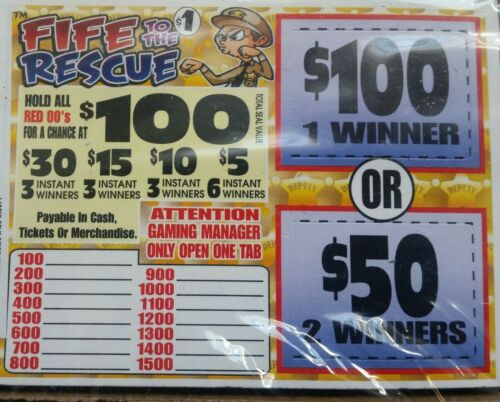 *$110 PROFIT FIFE TO THE RESCUE $100 WINNER $1/405 PULL TABS INSTANT WINNERS