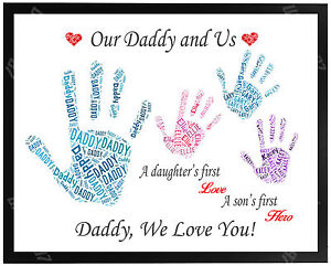 Daddy Dad Birthday Gift Present FOR HIM Personalised Family Hand Print Fathers