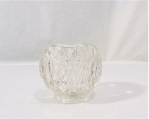 Vintage AVON CRYSTAL Starbursts Diamonds Clear Cut Heavy GLASS CANDLE HOLDER