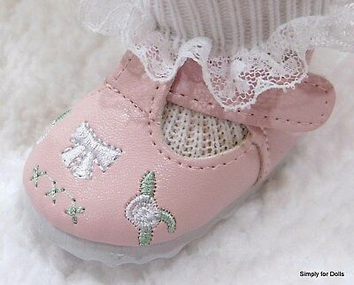 PINK T-Straps wBows & Roses DOLL SHOES fits American Girl 15