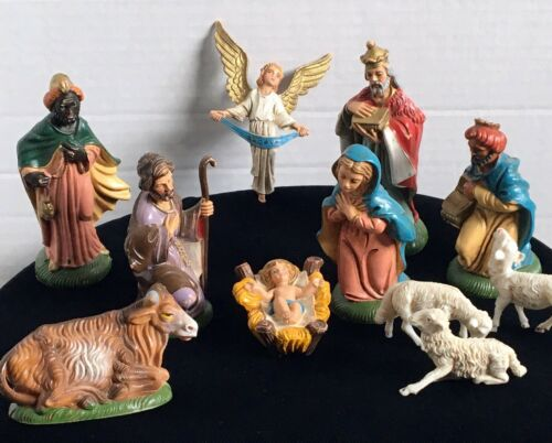 Vintage Nativity Set Made in Italy 11 Pcs. Jesus Mary Joseph Magi Angel Animals